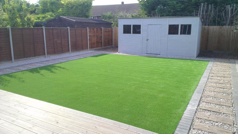 Artificial grass private garden landscaping