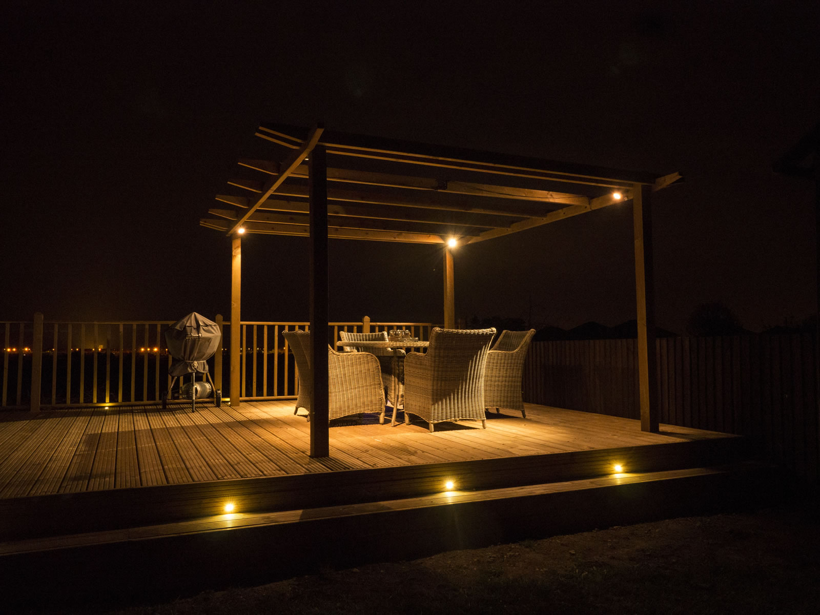 Decking fencing and timber buildings by hortiservices for Garden decking with lights