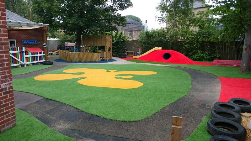 coloured artificial grass play area